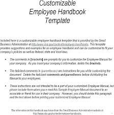 Sample Employee Handbooks Personnel Handbook Template