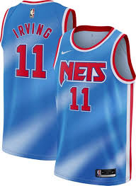 Number and name at checkout printed jersey: Nike Men S Brooklyn Nets Kyrie Irving 11 Blue Dri Fit Hardwood Classic Jersey Dick S Sporting Goods