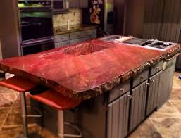 red stained concrete countertops