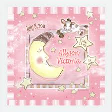 customized children s art nursery wall decor baby girl cow jumped over the moon