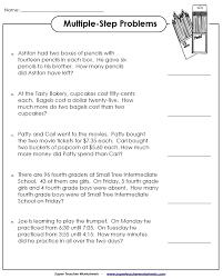 Multiple Step Word Problem Worksheets Problems. Math Worksheets ...