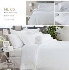 details of hotelier prestigio white sateen stripe bundle bed set