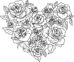 Small Picture Heart And Rose Coloring Pages Affordable Heart Coloring Page Etsy