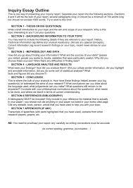 Essey Outline Inquiry Essay Outline