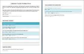 teacher feedback form feedback form for substitute teacher formal word templates