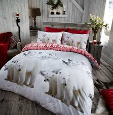 polar bear animal 100 brushed cotton flannelette printed duvet cover bedding set double king