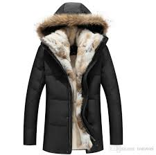 2019 winter down jackets mens fur coat hoos thick warm outwear overcoat snow clothes real rac fur collar rabbit fur linner s 5xl new from tomwei