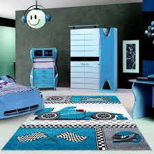 happy blue modern patterned kids motor racing rug