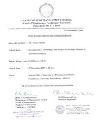 Ph D Synopsis Presentation Meeting Notification Of Mr