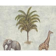 AS Creation Giraffe Elephant Motif Africa Map Pattern Vinyl Embossed  Wallpaper 958971