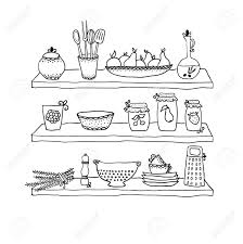 Kitchen Utensils On Shelves Sketch Drawing Royalty Free Cliparts