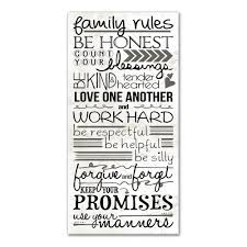 family rules printed canvas wall