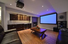interior frame wall poster home theater room ideas brown color leather reclining chairs classic wooden bar