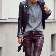 pants oxblood pants burdy pants leather jacket zippers jacket leather pants faux leather biker trousers biker
