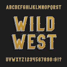 flyers numbers vintage wild west alphabet vector font 3d effect letters and