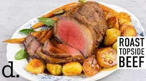 roast topside of beef with roasties and