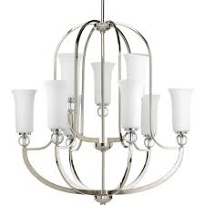 elina collection 9 light polished nickel chandelier with opal glass shade