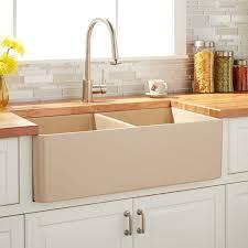 33 reinhard double bowl fireclay farmhouse sink beige