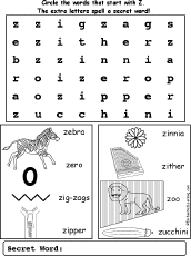 Letter Z Alphabet Activities at EnchantedLearning.com