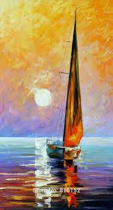 gold sail abstract landscape painting sailboat paintings sailing on sea canvas print wall decor