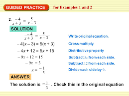 the solution is check this in the original equation 1 3 answer 5 guided practice