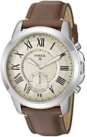com fossil q men s grant stainless steel and leather hybrid smarch color silver tone brown model ftw1118 watches