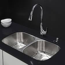 kraus 32 inch offset double bowl stainless steel kitchen sink