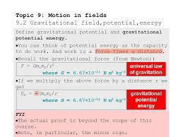 9 2 1define gravitational potential and gravitational potential energy
