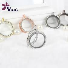 30mm silver round photo magnetic memory glass locket with rhinestone floating locket pendant with snake chains
