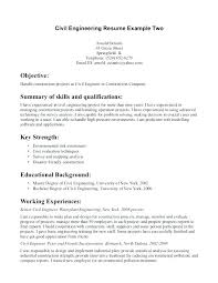 Entry Level Civil Engineer Resume Objective Example Skills In For