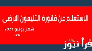 الاستعلام عن فاتورة التليفون الارضى لشهر يوليو 2021 برقم التليفون عبر موقع  المصرية للاتصالات الرسمى  billing.te.eg - إقرأ نيوز