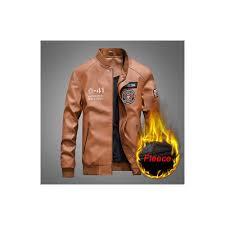 fashion leather jacket men autumn winter military jackets male fleece liner outwear warm pu baseball jackets plus size m 4xl size m color brown