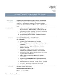 Resume Equipment Operator Resume