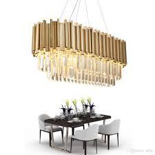 Delin Esszimmer Moderne Kristall Kronleuchter Luxus Oval Hängen Leuchten Esszimmer Suspension Led Lüster De Cristal Ac100 230v