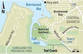 butchart gardens map. Modren Butchart Tod Creek Map Intended Butchart Gardens Map T