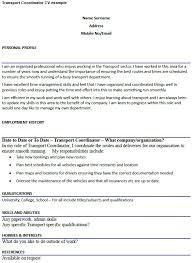 Transport Coordinator Cv Example Icover Org Uk