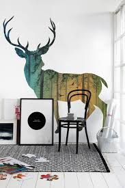 Well Turned Deer Paint For Wall Pattern Ideas With Black Chair Side Glass  Window And Simple Frame On Cute Carpet Plus Nice Floor