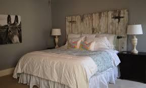 bedroom diy barn door headboard white shade table lamp on wooden bed side brown fl