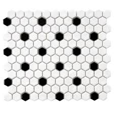 Black And White Tiles Merola Tile Metro Hex Glossy White With Black Dot 10 1 4 In X 11