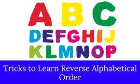 Alphabetical Order Tricks To Learn Reverse Alphabetical Order Bankexamstoday