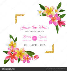 Romantic Date Invitation Template Wedding Invitation Template With Pink Plumeria Flowers Tropical