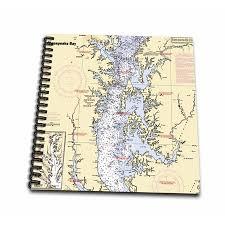 Chesapeake Bay Chart Book 3drose Print Of Nautical Chart Chesapeake Bay Mini Notepad 4 By 4 Inch