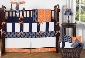 orange and navy crib bedding