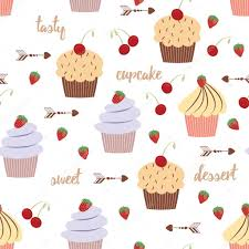 Sweet Dessert Background With Cupcakes Bakery Pattern Stock