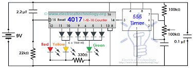 traffic light control electronic project using 4017 & 555 timer Basic Electrical Wiring Diagrams at 4017 Wiring Diagram