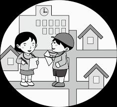 イラストポップ 学校のイラスト 社会科no12町探検をする男の子と女の子