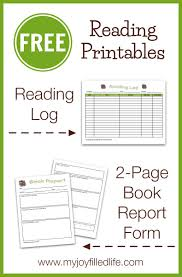 Free Reading Log Book Report Form My Joy Filled Life