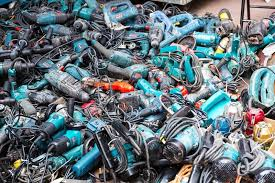 power tools for sale. hong kong, november 1: market sale of second hand power tools on the sidewalk road in sham shui po. government now stop provide any new certification for