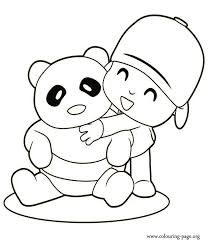 Small Picture Pocoyo Pocoyo and a bear panda coloring page