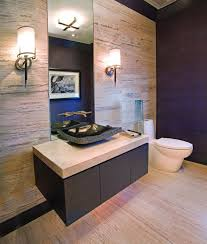 Luxury Elegant Beige Interior Powder Room Style With Floating Wooden Black  Beige Rectangle Elegant Countertop Vanity